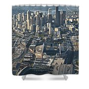Aerial View Of Seattle Skyline With The Pro Sports Stadiums Shower Curtain