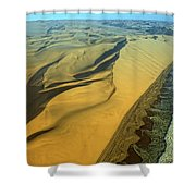 Aerial View Of Skelton Coast, Namib Shower Curtain