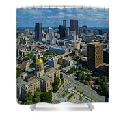 Aerial View Of Skyline And Georgia Shower Curtain