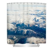 Aerial View Of Snowcapped Mountains In Bc Canada Shower Curtain