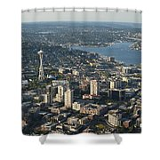Aerial View Of Space Needle And Lake Union Shower Curtain