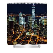 Aerial View Of The Lower Manhattan Skyscrapers By Night Shower Curtain