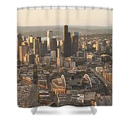 Aerial View Of The Seattle Skyline With Stadiums Shower Curtain