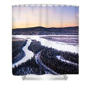 Aerial View Of The Tanana River Valley Shower Curtain