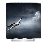 Risk - Aeroplane In Thunderstorm Shower Curtain