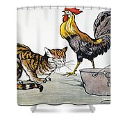 Aesop: Cat, Cock, And Mouse Shower Curtain