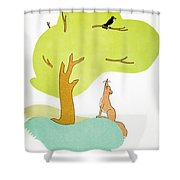 Aesop: Fox & Crow Shower Curtain