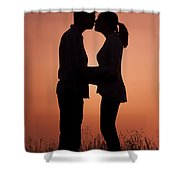 Affectionate Couple At Sunset In Profile  Shower Curtain