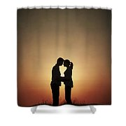 Affectionate Couple At Sunset In Silhouette Shower Curtain