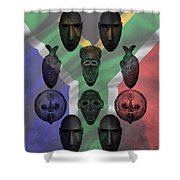 Africa Flag And Tribal Masks Shower Curtain