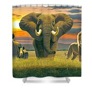 Africa Triptych Variant Shower Curtain