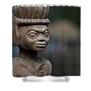 African Aging Wooden Sculpture Shower Curtain