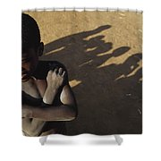 African Boy, Bare-chested, Arms Crossed Shower Curtain