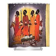 African Christmas Nativity Shower Curtain