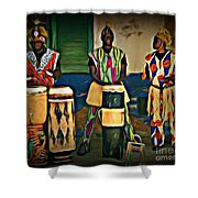 African Drummers Shower Curtain