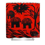 African Huts Red Shower Curtain