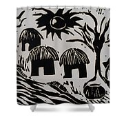 African Huts White Shower Curtain by Caroline Street