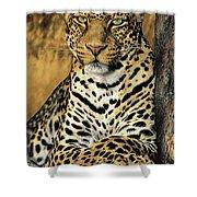 African Leopard Portrait Wildlife Rescue Shower Curtain