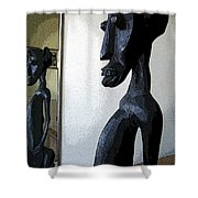 African Statue Reflection Shower Curtain