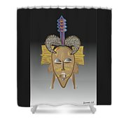 African Tribal Ceremonial Mask Shower Curtain