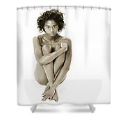 Chynna African American Nude Girl In Sexy Sensual Photograph And In Black And White Sepia 4783.01 Shower Curtain
