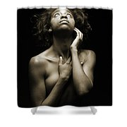 Chynna African American Nude Girl In Sexy Sensual Photograph And In Black And White Sepia 4782.01 Shower Curtain
