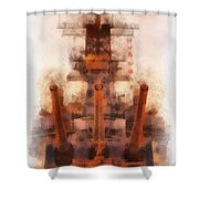 Aft Turret 3 Sun Down Uss Iowa Battleship Photo Art 01 Shower Curtain
