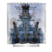 Aft Turret 3 Uss Iowa Battleship Photoart 01 Shower Curtain