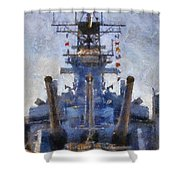 Aft Turret 3 Uss Iowa Battleship Photoart 02 Shower Curtain