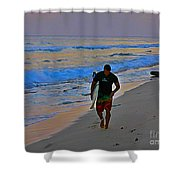After A Long Day Of Surfing Shower Curtain by John Malone