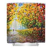 After Rain Autumn Reflections Acrylic Palette Knife Painting Shower Curtain