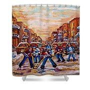 After School Winter Fun Street Hockey Paintings Of Montreal City Scenes Carole Spandau Shower Curtain