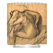 After The Bath .woman Drying Her Hair Shower Curtain