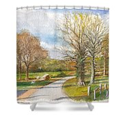 Afternoon In The Auvergne Countryside In Central France Shower Curtain