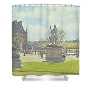 Afternoon In The Tuileries, Paris Oil On Canvas Shower Curtain