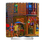Afternoon Stroll French Bistro Sidewalk Cafe Colors Of Montreal Flags And Umbrellas City Scene Art Shower Curtain