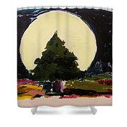 Against The Moon Shower Curtain