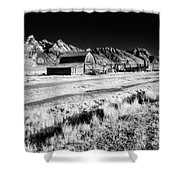 Against The Mountains Shower Curtain