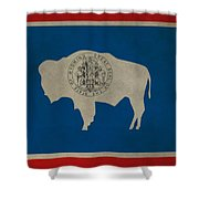 Aged Wyoming State Flag Shower Curtain