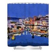 Painting Of Agios Nikolaos City Shower Curtain