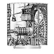 Agricola Waterwheel, 1556 Shower Curtain
