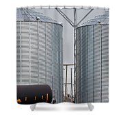 Agricultural Grain Silos Exterior Railway Wagon Shower Curtain