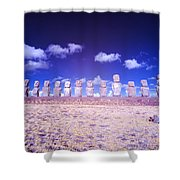 Ahu Tongariki Infrared Shower Curtain
