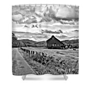 Ah...west Virginia Oil Bw Shower Curtain