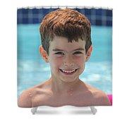 Aidan At The Pool Shower Curtain