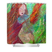 Aiden The Girl On Fire Shower Curtain by The Art With A Heart By Charlotte Phillips