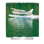 Aircraft Seaplane Taking Off On Calm Water Of Lake Shower Curtain