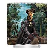 Airedale Terrier Art Canvas Print - Forest Landscape With Deer Hunting And Noble Lady Shower Curtain