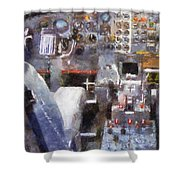 Airplane Cockpit Photo Art Shower Curtain
