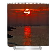 Airplane Flying At Sunrise Shower Curtain
